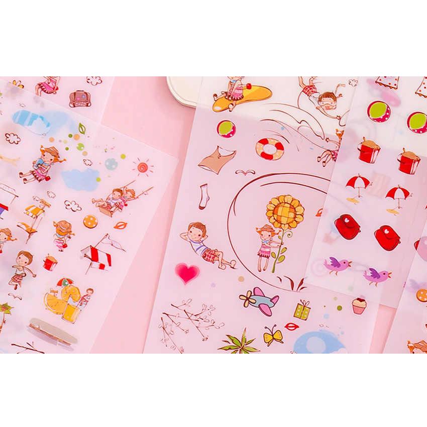 6 pièces/paquet bande dessinée coréenne petit frais Tansparent Pvc décoratif planificateur autocollants bricolage journal Scrapbooking téléphone joint autocollants