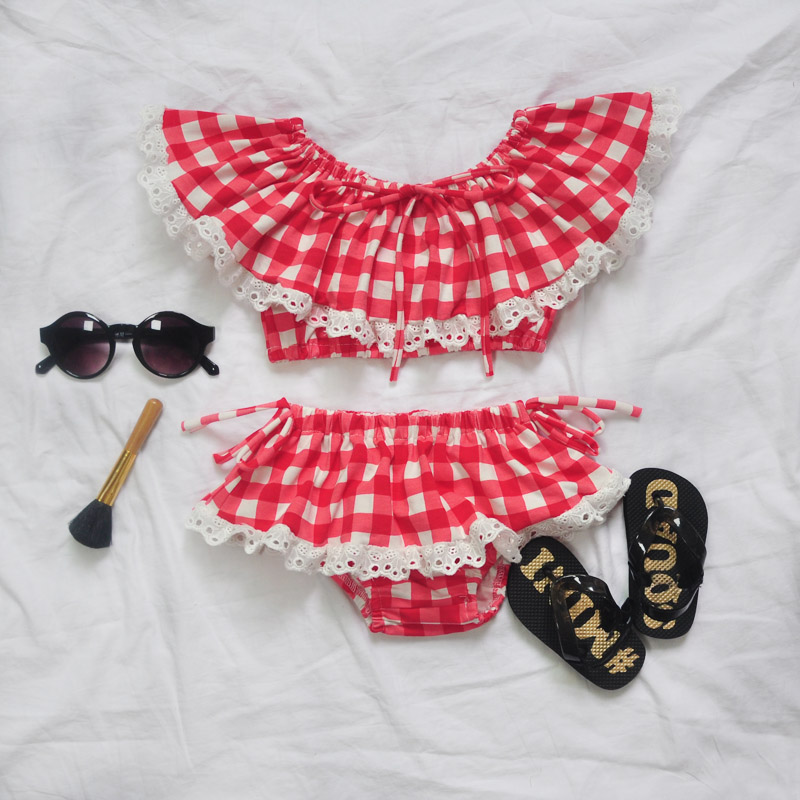 New Pop Kids Style swimsuit children swimwear kids summer two Pieces Skirted Plaid girl  ...