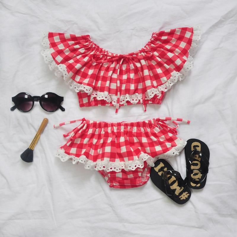New Pop Kids Style swimsuit children swimwear kids summer two Pieces Skirted Plaid girl bikini beach wear Bathing Suit
