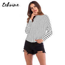 Echoine Pullovers Striped Sweater Knitting Casual Top Women Black/White/Red Long Batwing Sleeve Autumn Knitwear Sweaters M-XL(China)