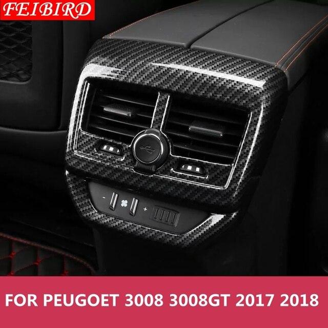 Box bracciolo Posteriore Aria Condizionata AC Vent Uscita Stampaggio Kit di Copertura Trim 1 Pezzo Accessori Per Peugeot 3008 3008GT 2017 2018