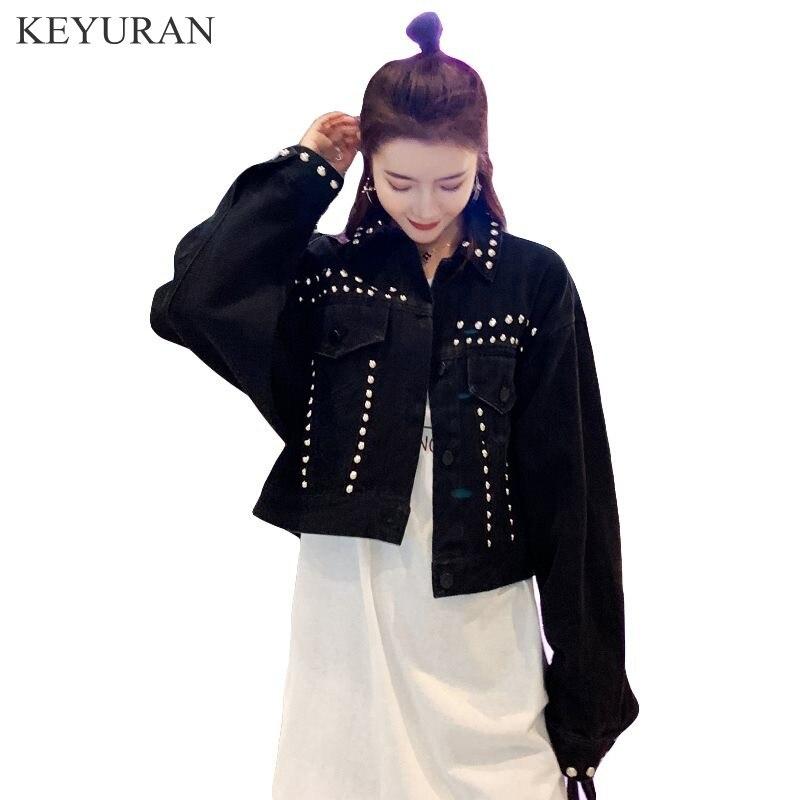 2020 Spring Autumn New Women's Harajuku Black Loose Denim   Jacket   Beaded Rivet Short Jeans Lapel Long Sleeve   Basic   Coats Outfit