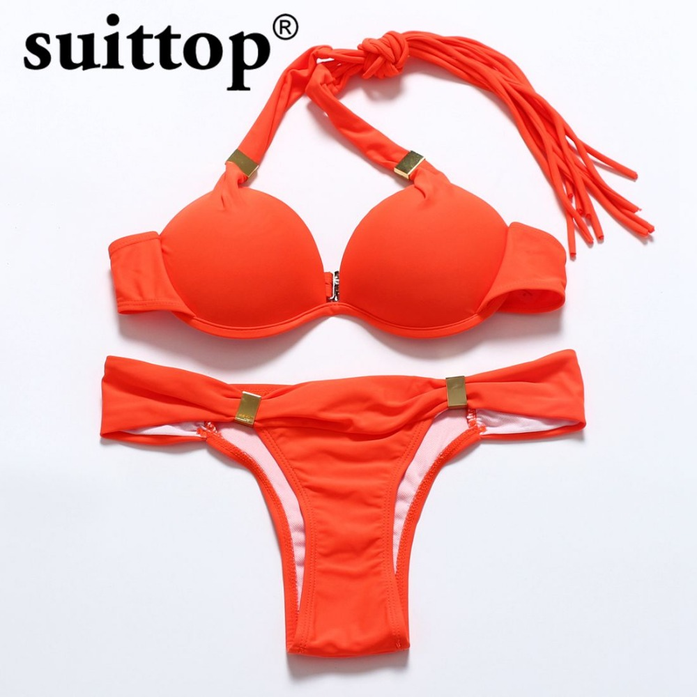 suittop bikini 2017 summer sexy solid multi color maillot de bain push up string swimwear. Black Bedroom Furniture Sets. Home Design Ideas