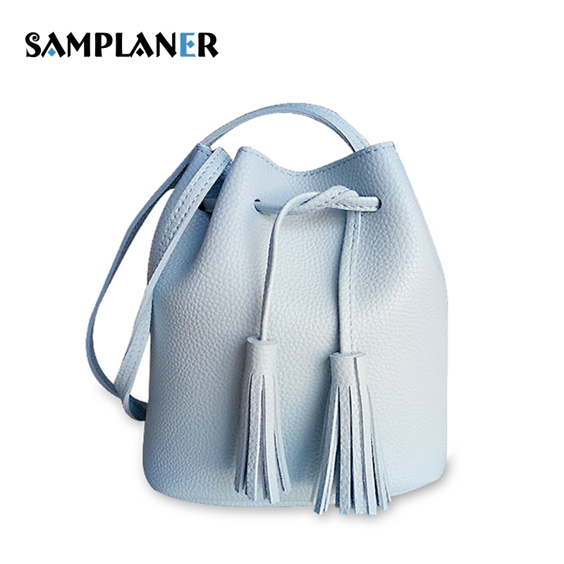 Samplaner Small PU Leather Bucket Bags Sweet Tassel Womens Shoulder Bag Casual Mini Pink Crossbody Bags For Teenage Girls 2018