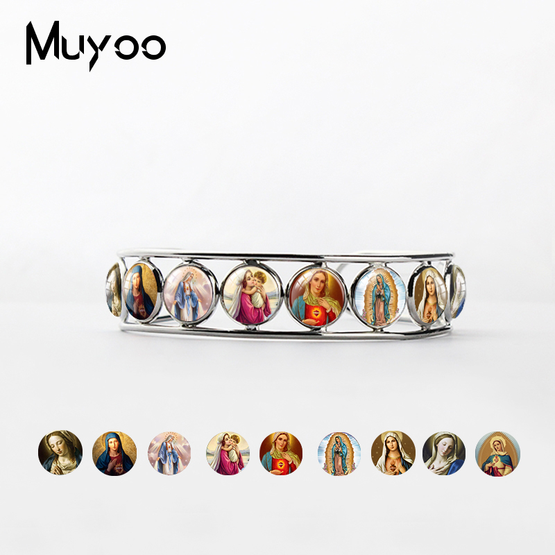 New Vintage Style Jewelry Virgin Mary Glass Cabochon Bangles Cuff Our Lady of Guadalupe Jewelry Glass Art Adjustable Bangle
