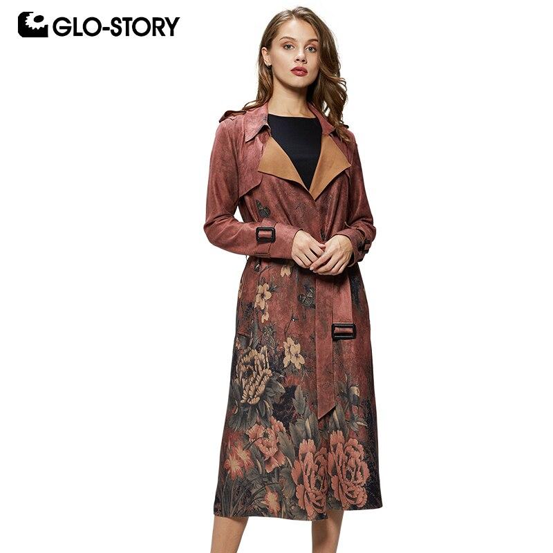 WohltäTig Glo-story 2019 Mode Frauen Floral Vintage Elagant Lange Wildleder Faux Leder Jacke Mit Schärpen Weibliche Damen Mäntel Wfy-7843 Jacken & Mäntel Trench