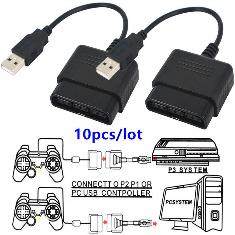 10pcs Controller USB Adapter Converter Cable for PlayStation 2 to USB for Sony PlayStation 3 PS3 and PC Video Game Accessories