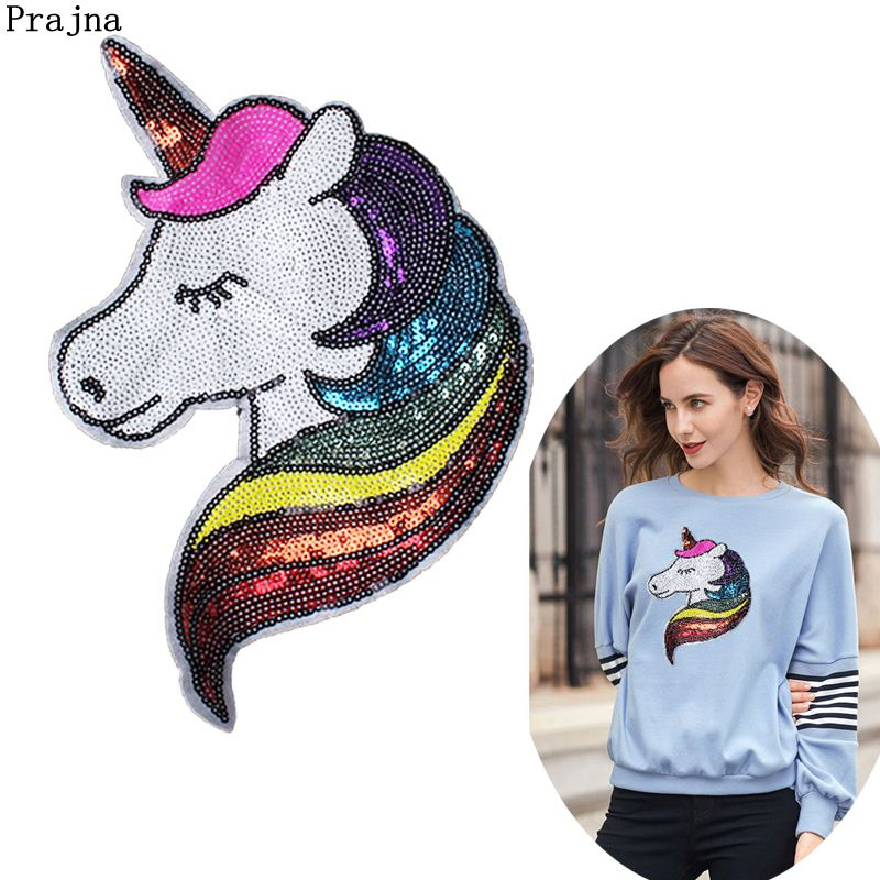 3f5ccd8d90 DIY Cloth Sequined Patches Unicorn Patch For Clothes Sew on Patches ...