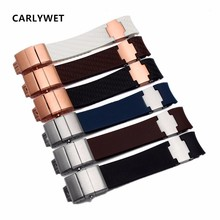 купить CARLYWET 22mm(20mm buckle)Black Brown White Waterproof Cruved End Silicone Rubber Watch Band Strap Silver Buckle Clasp Luxury  по цене 3513.83 рублей