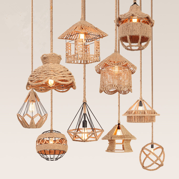 Retro Pendant Lights For Restaurant Bar Cafe Hanging Light Woven Hemp Rope Diamond Cages Lamp