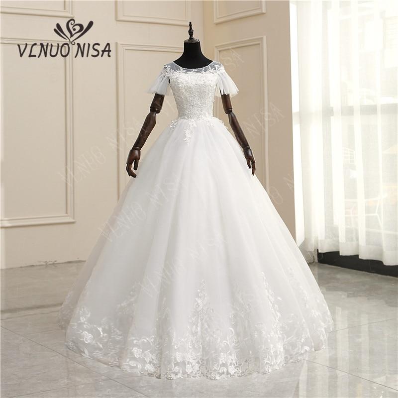 8 Layers Real photo 2020New Arrival Wedding Dresses Lace flowers Princess Vestido De Noiva Lace Appliques Ball Bridal Gowns 65