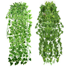 Popular Home Decor Green Plant Ivy Leaf Artificial Flower Plastic Garland Vine artificial flowers wall(China)