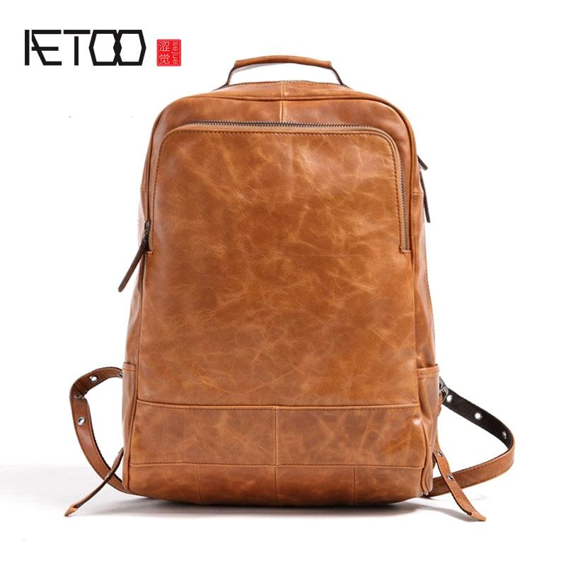 AETOO 2017 new men's shoulder bag leather travel shoulder bag imported oil skin shoulder bag aetoo 2017 new 100