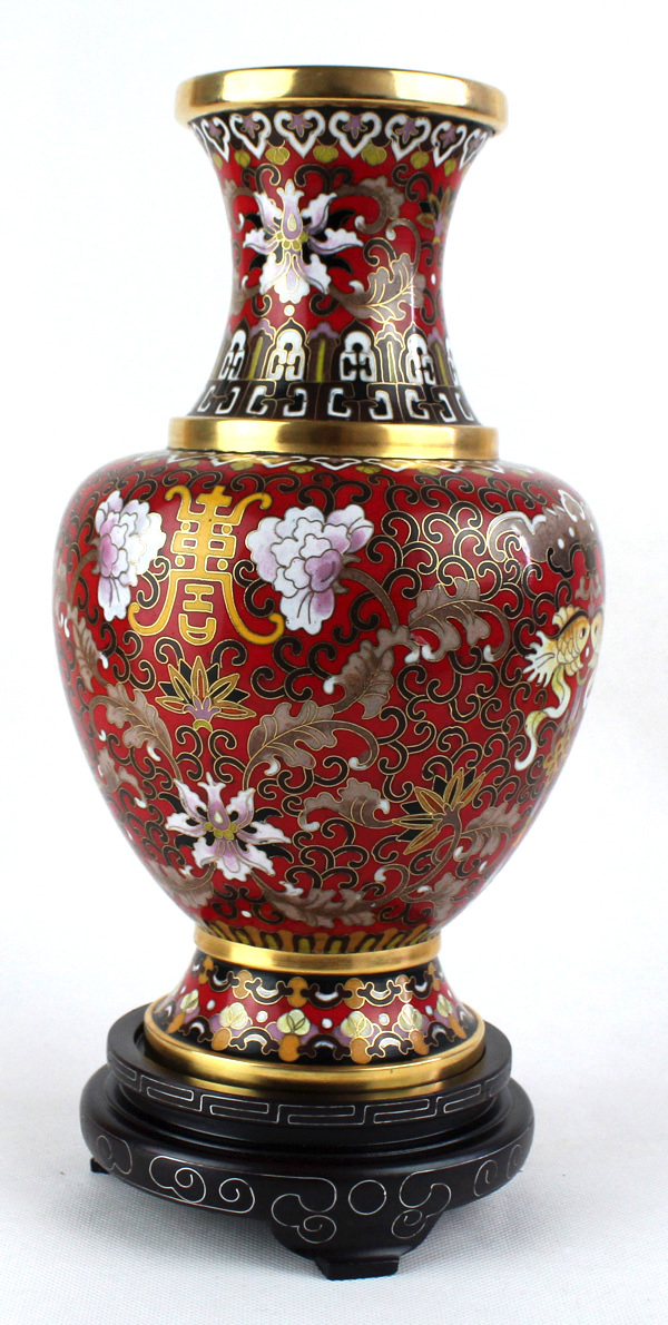 Cloisonne Vase Chinese Vintage Red Floral Fish Ornament Made By
