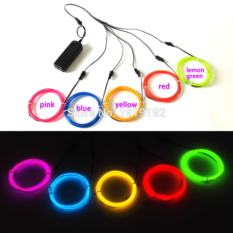 3.2mm 1Meters multicolor DC3V EL wire Rope tube neon Led thread light Rope Cable for DIY glowing clothes/props Party Decoration