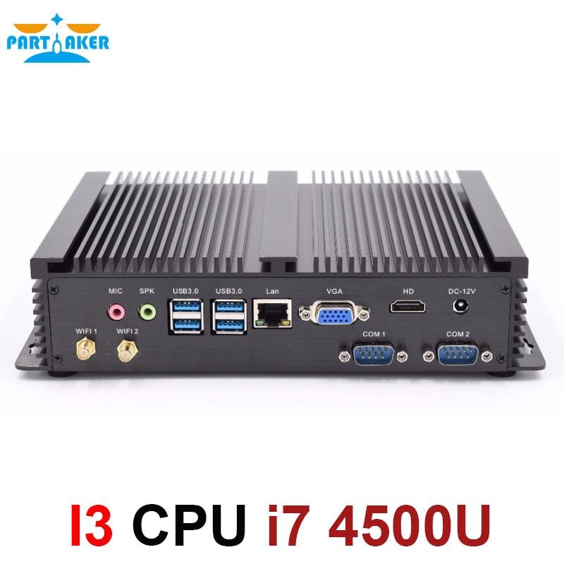 Partaker I3 Industrial PC Fanless Mini PC Windows Linux With Intel Core I7 4500u TDP 15W Graphics HD 4400
