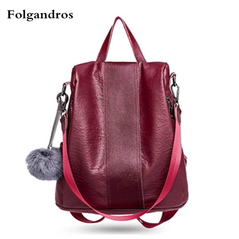 Women's Backpacks Genuine Leather Female Backpacks Women School Bags for Girls Large Capacity Shoulder Travel Mochila Sac A Main