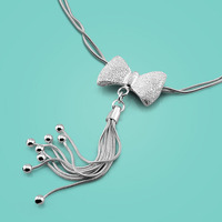 Cute Female Charm Jewelry 925sterling Silver Necklace Bow Pendant Design 46cm Snake Chain Female Clavicle Necklace