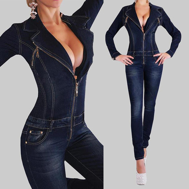 6954fc0b2167 2015 Sexy Denim Jumpsuits Autumn Jeans Jumpsuit Womens Full Length Zipper  Deep-V Solid Dark Long Female Rompers Trousers