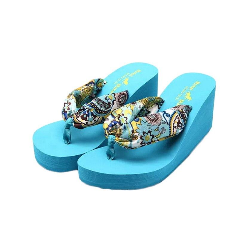 Laamei Women Flip Flops Boho Satin Wedge Platform Flip Flops High Heels Flip Flops Beach Sandals Ladies Shoes Summer Slippers сланцы popular summer flip flops