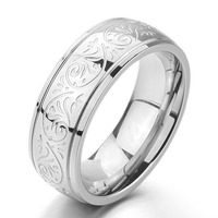Men S 7mm Stainless Steel Ring Band Silver Glod Black Tone Engraved Florentine Design Size 7