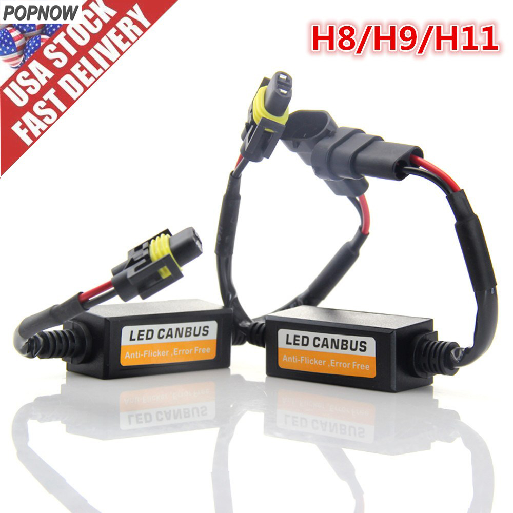 Pair H8/H9/H11 Car Led Light Bulb Canbus Error Free Anti Flicker Resistor Warning Canceller Decoder US SHIPPING #6926