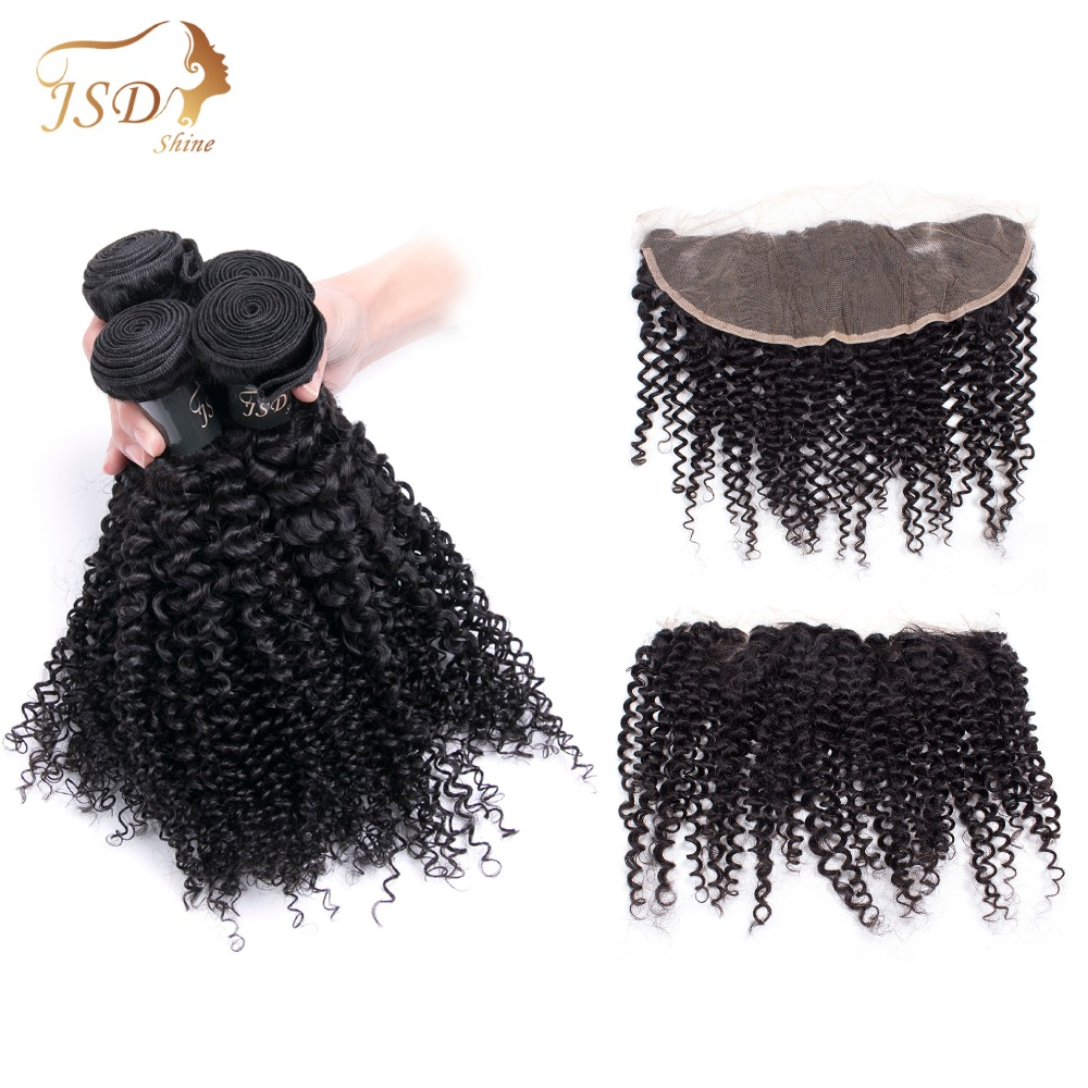 JSDshine Mongolian Kinky Curly Hair Bundles with Frontal Non-Remy Hair 13x4 Pre-Plucked Lace Frontal Closure With 4 Bundles