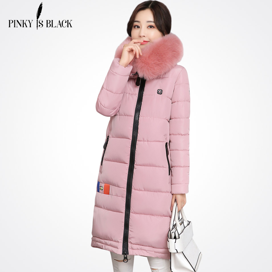 Pinky Is Black 2017 New Long Parkas Female Womens Winter Jacket Coat Thick Cotton Warm Jacket Womens Outwear Parkas Fur Coat new long parkas female womens winter jacket coat thick cotton warm hooded jacket womens outwear parkas plus size coats qh0604