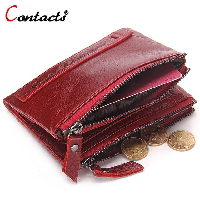 CONTACT'S Genuine Leather Women Wallet Vrouwelijke Portemonnee Mannen Portemonnee Kleine Rits Portemonnee Lederen Rode Creditcardhouder Geldzak