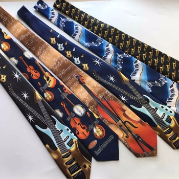 Drop Shipping Fashion Soft 9cm Music Party Tie Classic Musical Instrument Pattern Music Necktie Woven Ties national music museum chair western musical instrument stool free shipping villa garden coffee table desk retail wholesale