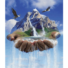 5D Diy Painting Diamond Cross Stitch Square Embroidery Drill Full Mosaic Decoration Landscape waterfall on hand