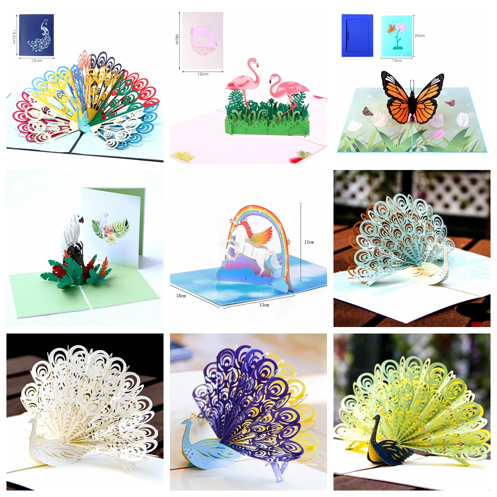 Post Wedding Gifts: 3D Unicorn Laser Cut Kraft Paper Pop Up Happy Birthday