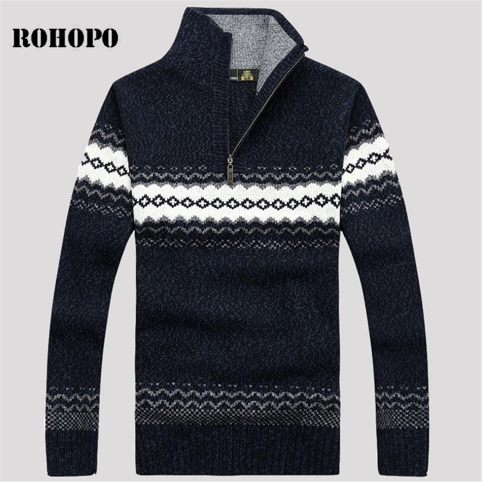 AFS JEEP 2019 Man's Patchwork Winter Wool Sweater,Stand Collar Pullover Loose Keep Warmly Knitted Full Sleeve Sweaters Male