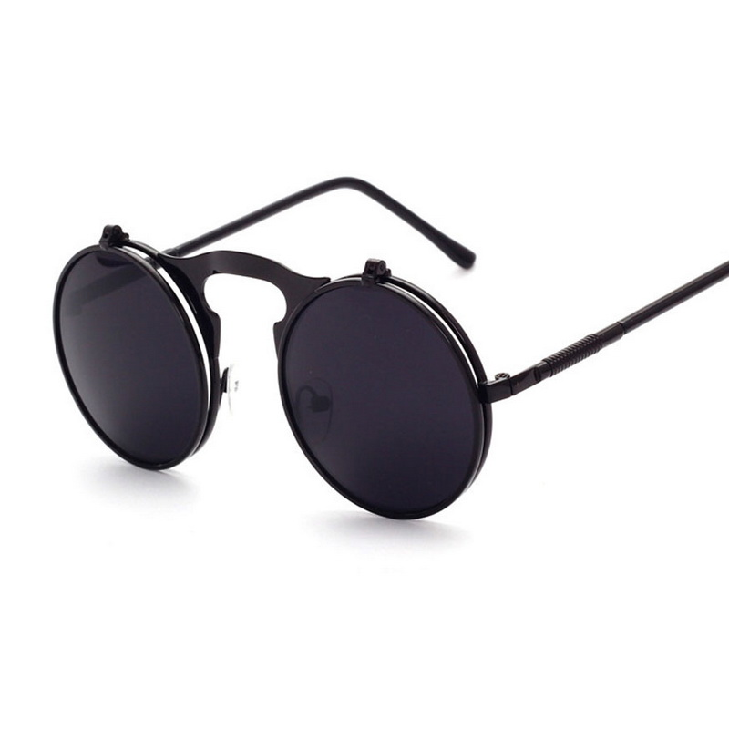 2017 fashion cool designer round metal frame UV400 protection flip top font b Sunglasses b font