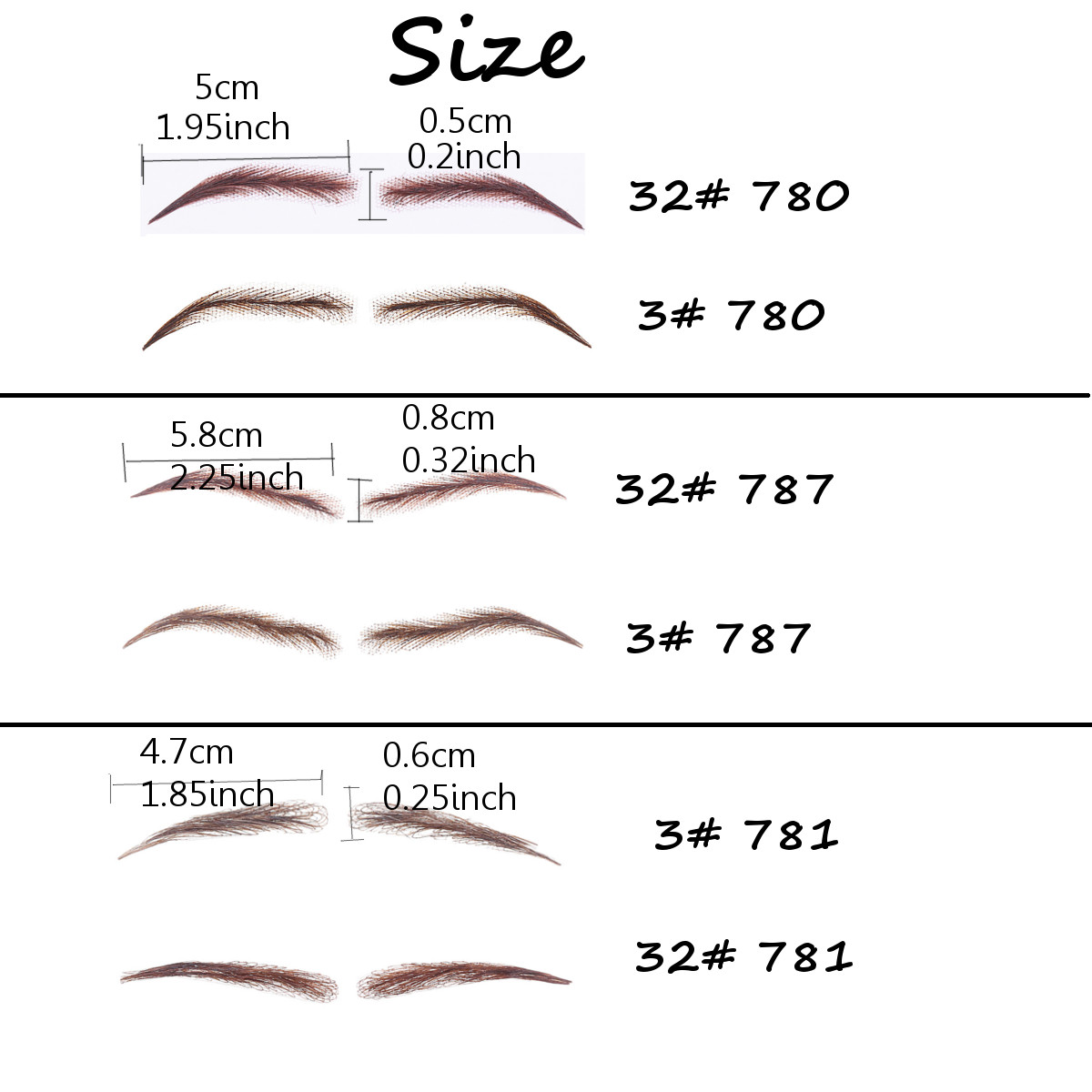 Image 2 - Handmade Human Hair False Eyebrows Lace Base For Women For Party Wedding Cosplay Star Fake Eyebrow Synthetic Eyebrows-in Eyebrow Enhancers from Beauty & Health