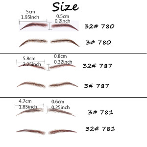 Image 2 - Handmade Human Hair False Eyebrows Lace Base For Women For Party Wedding Cosplay Star Fake Eyebrow Synthetic Eyebrows