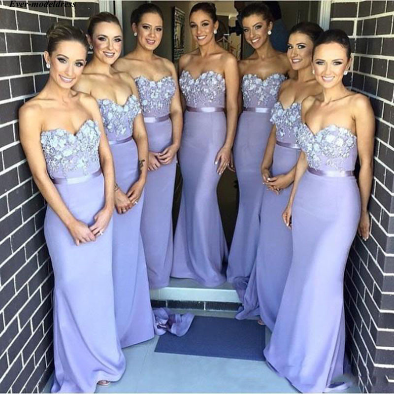 Long Mermaid   Bridesmaid     Dresses   Strapless Appliques Beaded 2019 New Formal Modern Wedding Guest Gowns Maid Of Honor Cheap