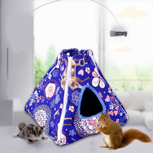 Small Pet Hammock Tent-stype Summer Cool Nest Pet Hanging Bed House for Ferret Rabbit Rat Hamster Squirrel Parrot Toys hamster hanging house hammock pineapple design small animals cotton cage sleeping nest pet bed rat hamster toys cag