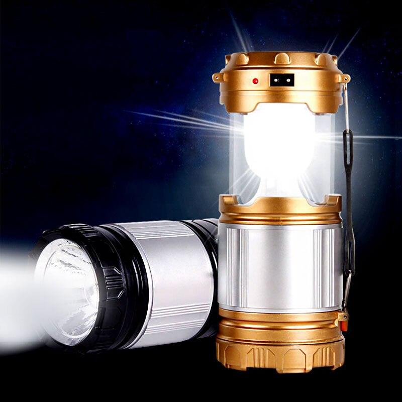 Solar LED bærbar lampe super lyse camping lys genopladelige hånd lanterne kraft bank solpaneler lommelygte nødlys