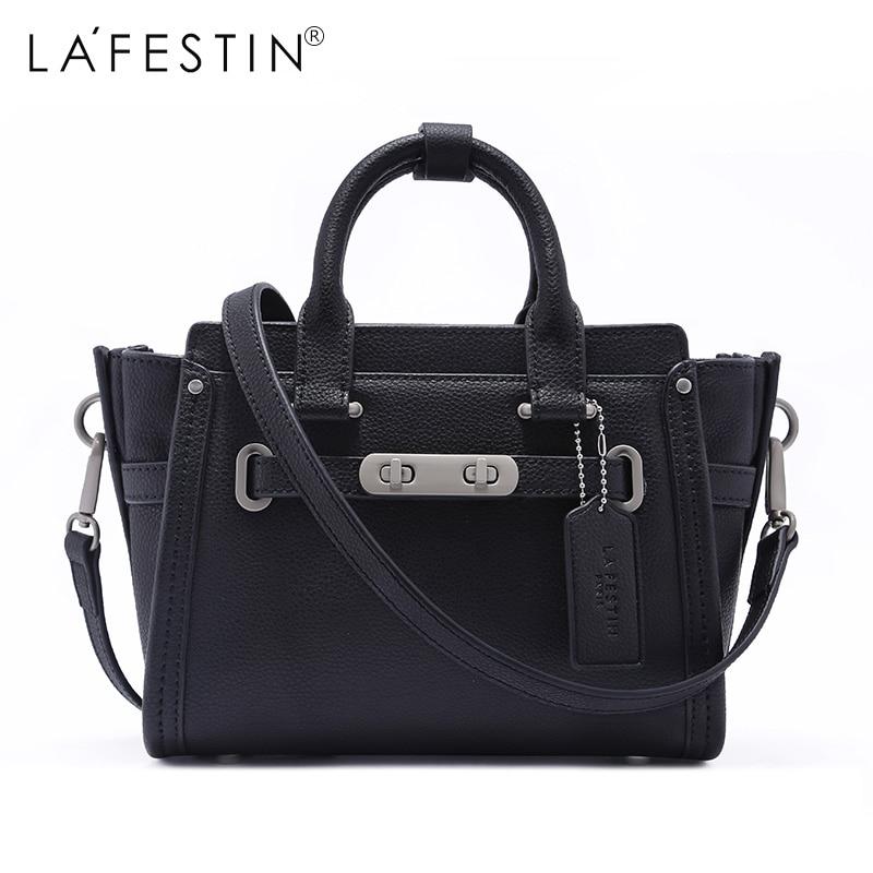 LAFESTIN Women Handbag Leather Trapeze Large Totes Crossbody Shoulder Bags Luxury Designer Bag Famous Brand Lady