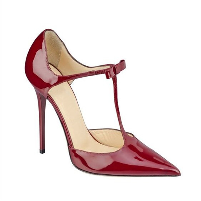 Fashion Red Female T Bar Shoes Woman Bow Pointed Toe High Heels Ladies Wedding Shoes Patent Leather Dress Pumps Women Shoes 2019Fashion Red Female T Bar Shoes Woman Bow Pointed Toe High Heels Ladies Wedding Shoes Patent Leather Dress Pumps Women Shoes 2019