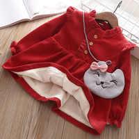 Novo sólido vestido infantil meninas vestido de bebê longo-mangas compridas vestido outono inverno borda com veludo crianças vestido de uma peça presente