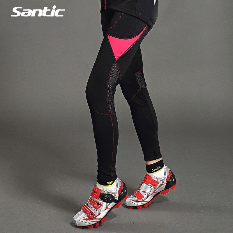 Santic Велоспорт брюки женщины зима флис MTB велосипедов брюки Джерси черные колготки Велоспорт брюки Велоспорт Джерси LC04028