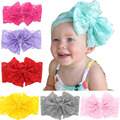 Fashion Girls Lace Big Bow Hair Band Baby Head Wrap Band Accessorie 2016 NEW on sale high quality 8 colors kinderkleding meisjes
