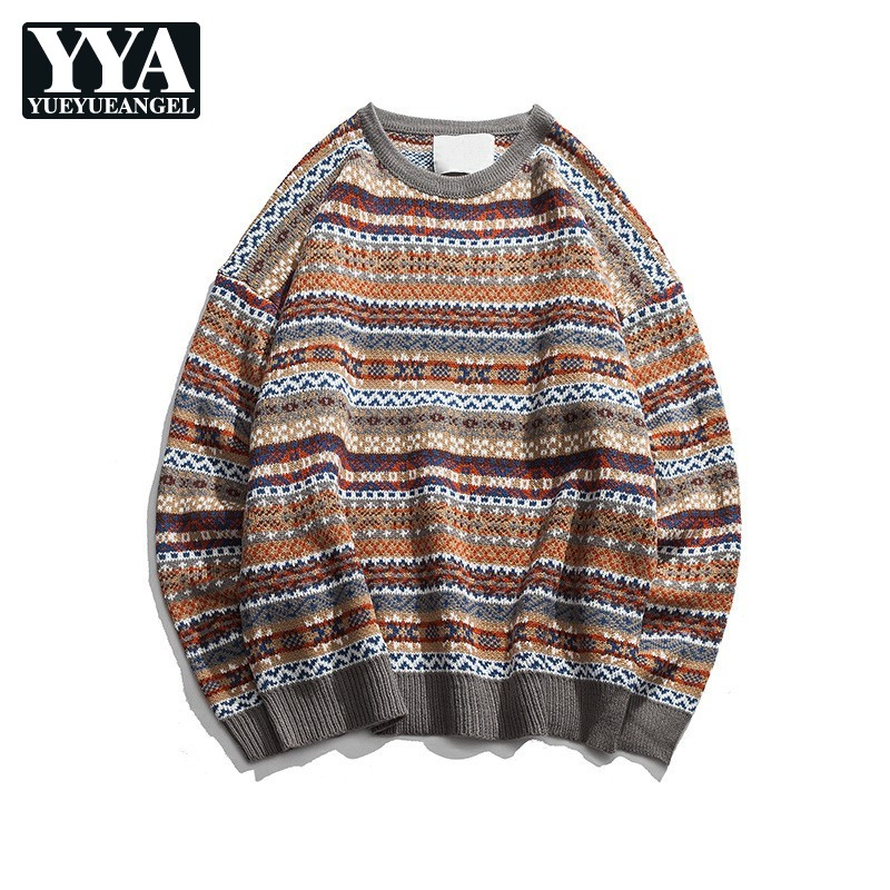 Loose Fit Folk Style Mens Sweaters Vintage O-Neck Pullover Tops Male New Autumn Winter Long Sleeve Knitted Sweaters M-2XL