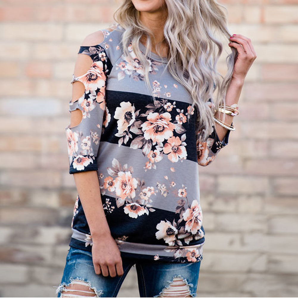d64203b9 2019 Hot Summer Shirt Sexy Holes T shirt Women Off Shoulder Shirt Long Tops  Women Ladies Floral Printing Multicolor tee shirt-in T-Shirts from Women's  ...