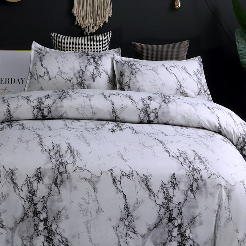 Image 4 - 5 Colors Bedding Set Nordic Modern Style Marble Pattern Printed Duvet Cover Set  Double Full Queen King Size Bed Linen 8 Size-in Duvet Cover from Home & Garden