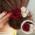 Drop Shipping Candy Color Rose Flower Scrunchy Ponytail Hair Band Elastic Rope Rubbers Women Headwear Wholesale Pearl Accessoy