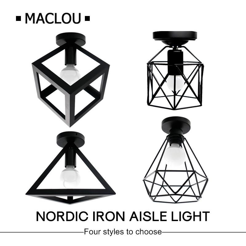 Vintage Iron Black Ceiling Light LED Shade Industrial Modern Ceiling Lamp Nordic Lighting Cage Fixture Home Living Room DecorVintage Iron Black Ceiling Light LED Shade Industrial Modern Ceiling Lamp Nordic Lighting Cage Fixture Home Living Room Decor