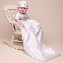 2016 New Baby Boys Christening Gowns White Color Birthday Baby 100 Silk Dupioni in White Dress